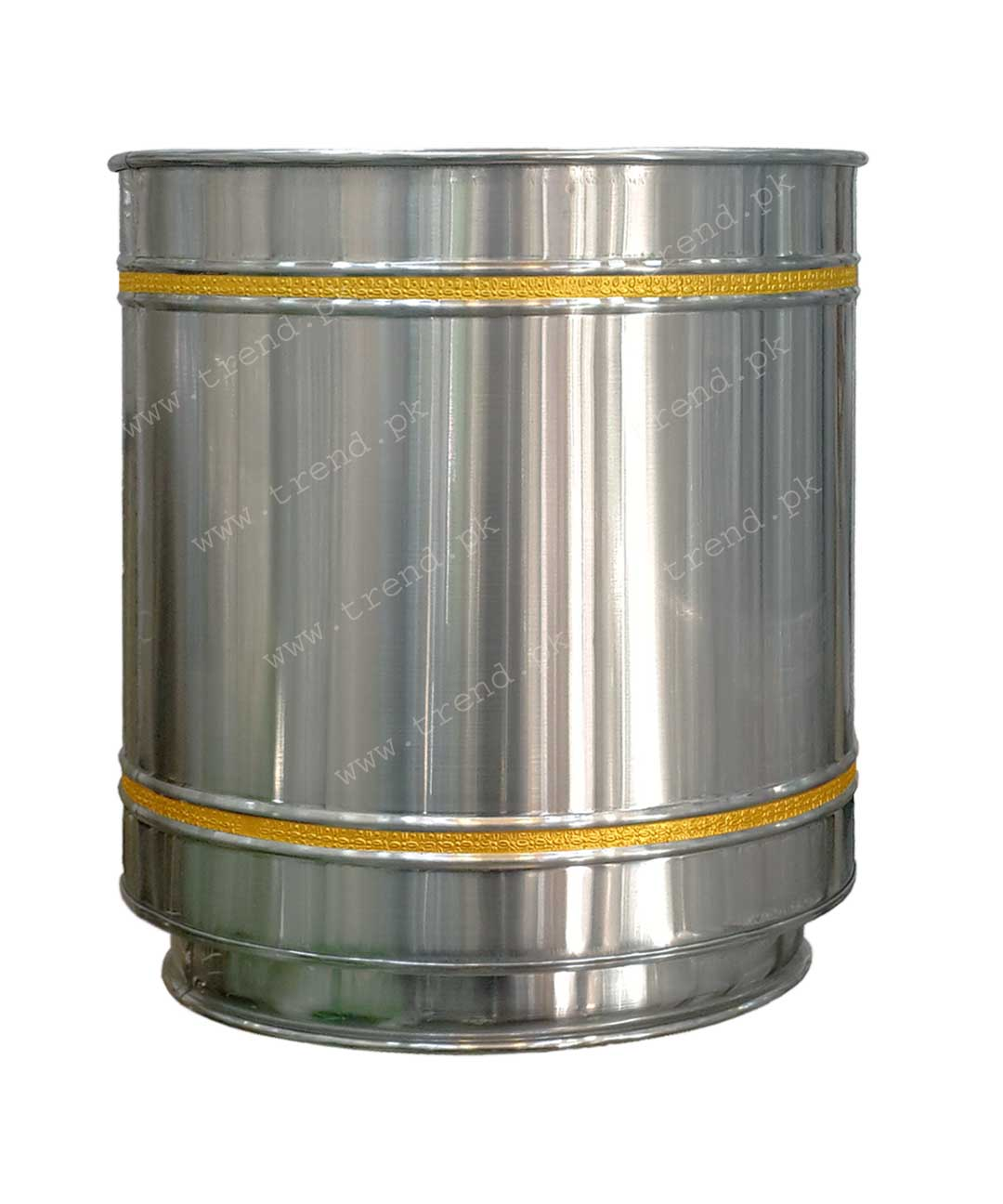 plant-pot-stainless-steel-decorated-with-grooves-and-pure-brass-strips-hand-crafted-planter